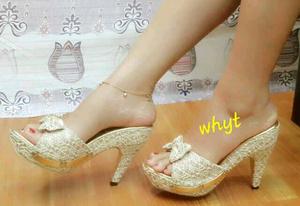 Sandal High Heels Wanita Kokop Brukat Model Terbaru Cantik & Murah