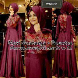 """Baju Long Dress Muslim Terbaru """"Maxi Anastasya"""""""