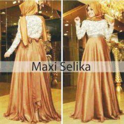 """Long Dress Hijab Brokat Murah """"Maxi Selika"""""""