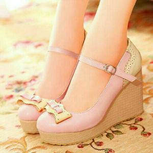 "Sepatu Wedges Murah ""Baby Pink"""