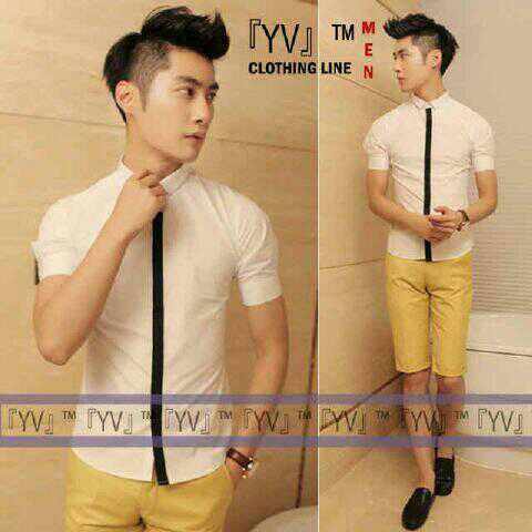 Baju Kemeja Hem Pria Stylish Lengan Pendek Warna Putih Terbaru