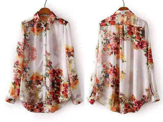 Baju Kemeja Wanita Lengan Panjang Motif Bunga Terbaru & Murah