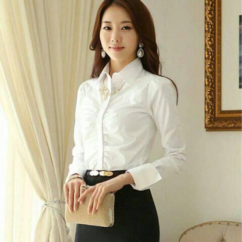 Baju Kemeja Wanita Lengan Panjang Putih Terbaru & Murah