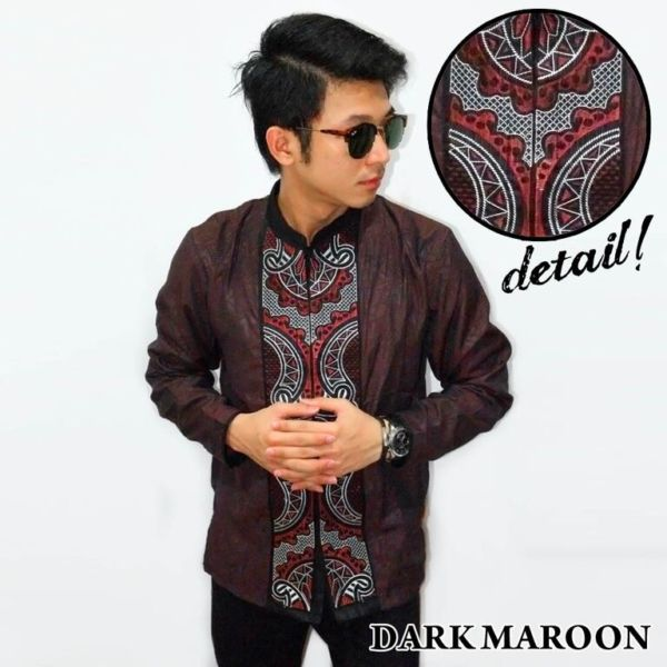 Baju Koko Bordir Lengan Panjang Modern Corak Abstract Warna Dark Maroon