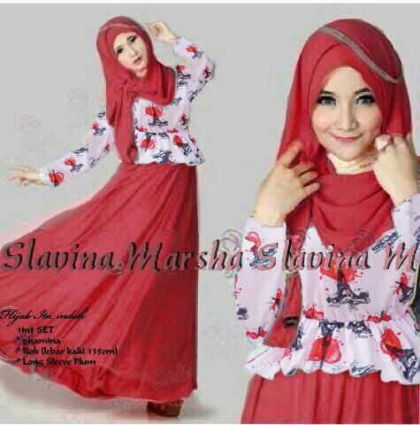 """Baju Long Dress Muslim Cantik """"Slavina"""" Terbaru & Murah"""