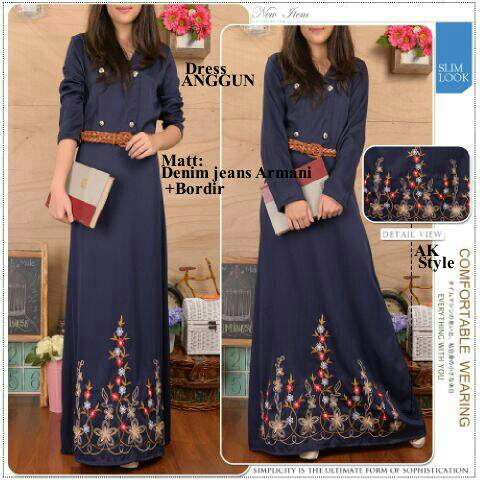 Baju Long Dress Muslim Denim Anggun Terbaru & Murah