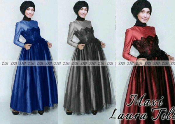 Baju Long Dress Muslim Hijab Maxi Tile Laura Model Terbaru
