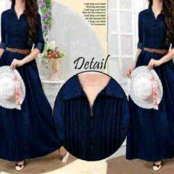 """Baju Long Dress Muslim """"Maxi Denim"""" Model Terbaru & Murah"""