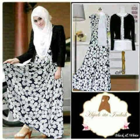 Baju Long Dress Muslim Modis Model Terbaru Motif Bunga Murah