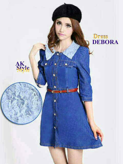 "Baju Mini Dress Denim ""Debora Dress"" Cantik Terbaru & Murah"