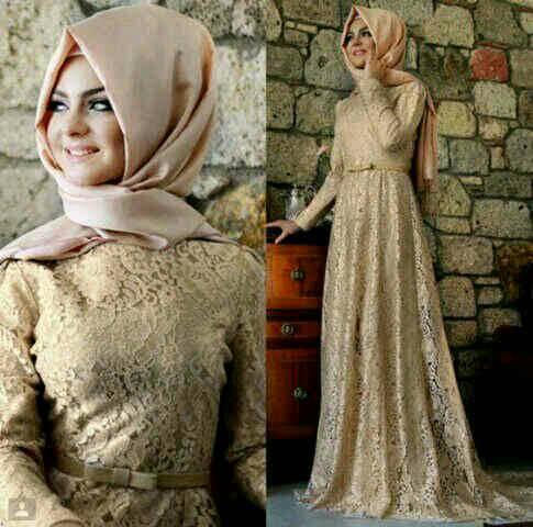 Long Dress / Baju Muslim Brukat Cantik Modern Model Terbaru & Murah