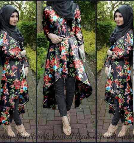Baju Muslim Wanita Setelan Hijab Model Terbaru Motif Bunga