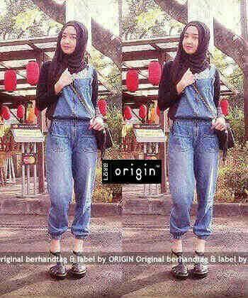 Jumpsuit Jeans Hijab Panjang Model Terbaru & Murah Plus Kaos