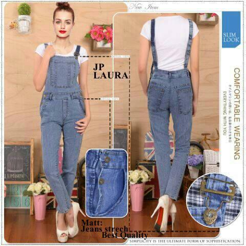 """Jumpsuit Jeans Panjang """"Laura JP"""" Model Terbaru & Murah"""