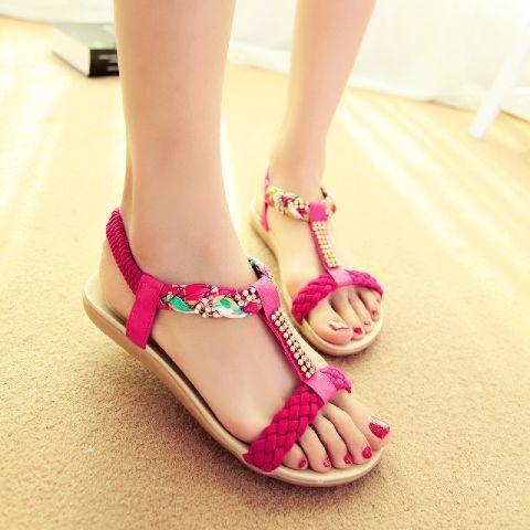Sandal Flat / Teplek Wanita Kepang Warna Pink Cantik Terbaru & Murah