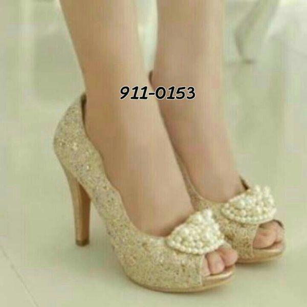 """Sandal High Heels Wanita Model Terbaru & Murah """"Brukat Mutiara"""""""