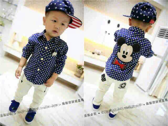 "Setelan Anak Laki-laki Baju Kemeja ""Micky Mouse"" & Celana Panjang Lucu & Murah"
