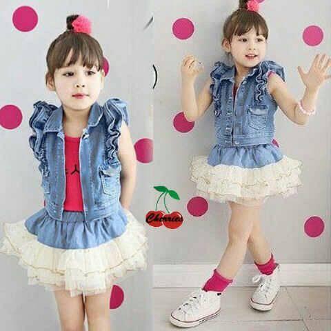 Setelan Baju Anak Perempuan Denim 3 in 1 Girl Kids Terbaru Lucu baju anak perempuan denim 3 in 1 girl kids terbaru & lucu,Model Baju Anak Perempuan 3 Tahun Terbaru
