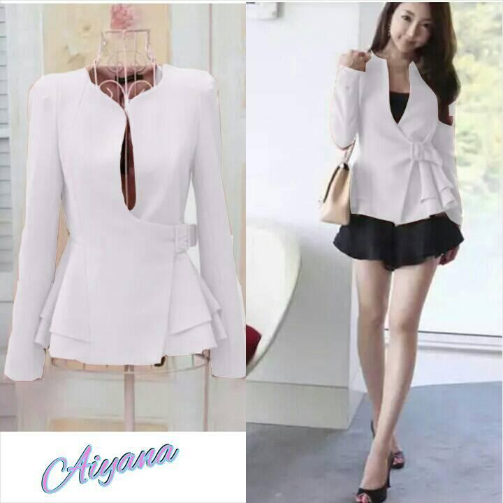 Baju Blazer Fashion Wanita Korea Cantik Modern Model Terbaru Murah Warna Putih baju blazer fashion wanita korea cantik & modern model terbaru & murah,Model Baju Wanita Korea