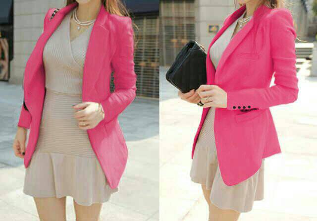 Baju Blazer Pink Cantik Modern Model Terbaru & Murah