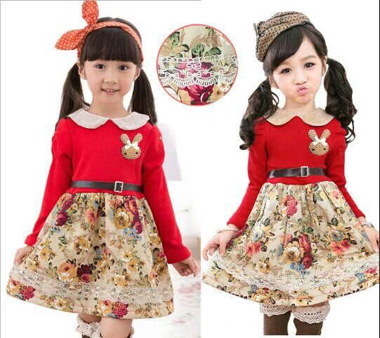 Baju Dress Merah Anak Perempuan Cantik Model Terbaru & Murah