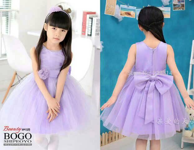 Baju Dress Pesta Ungu Anak Perempuan Cantik Model Terbaru & Murah