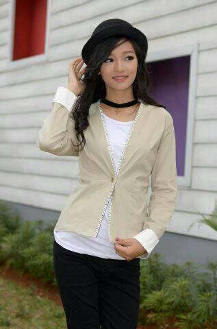 Baju Jaket Blazer Wanita Korea Desain Cantik Model Terbaru & Murah