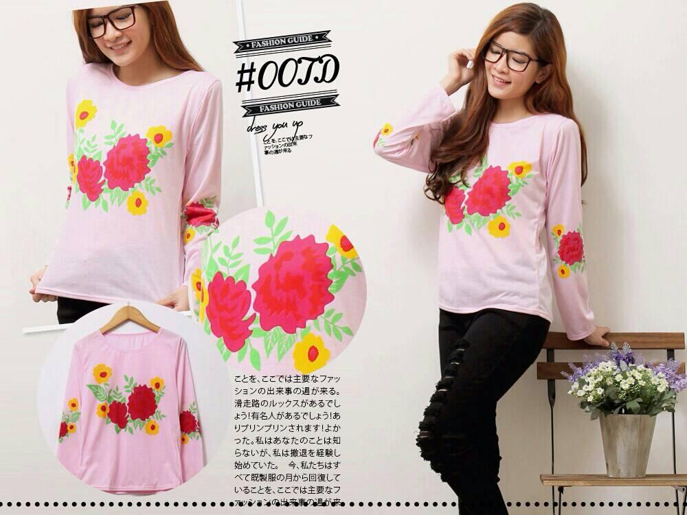 Baju Kaos Wanita Cantik Motif Bunga Model Terbaru & Murah