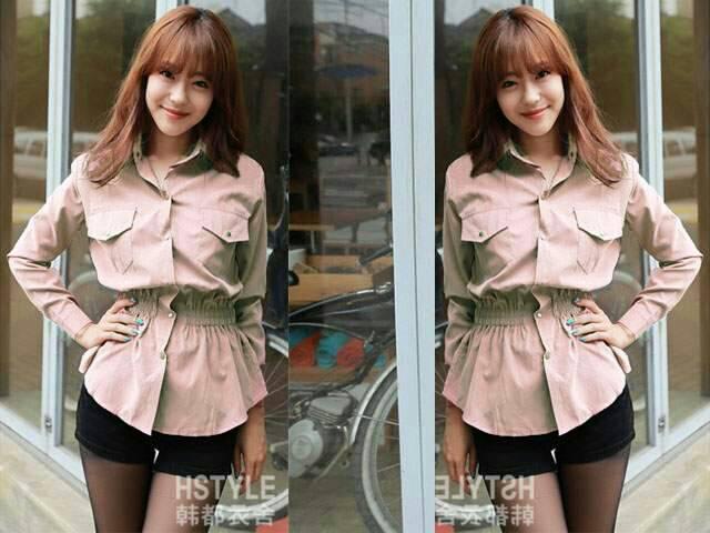 Baju Kemeja Hem Lengan Panjang Wanita Model Terbaru & Murah