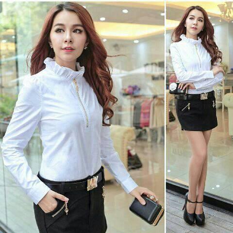 Baju Kemeja Hem Putih Wanita Cantik Model Terbaru & Murah