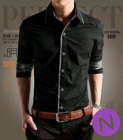 Baju Kemeja Hitam Pria Model Terbaru Keren & Murah