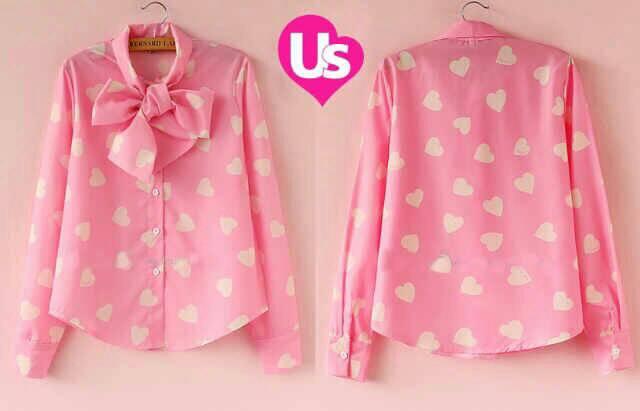 Baju Kemeja Wanita Lengan Panjang Pink Cantik Terbaru & Murah