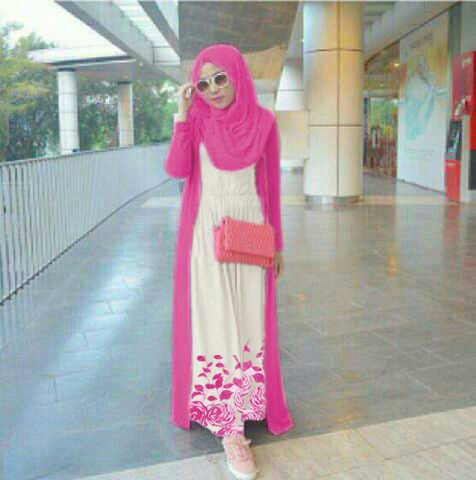 Baju Long Dress Muslim Hijab Pink Rose Model Terbaru & Murah