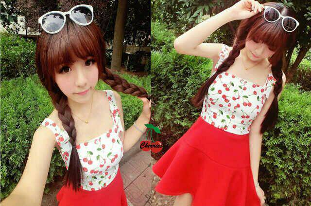 "Baju Mini Dress Pendek ""Red Cherry"" Cantik Model Terbaru & Murah"