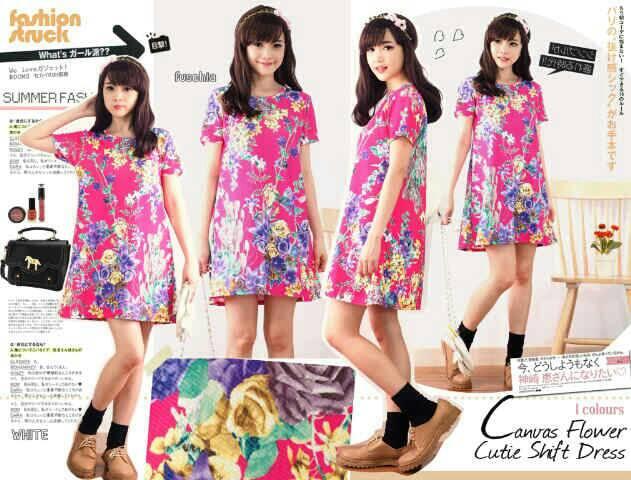 Baju Mini Dress Pendek Wanita Cantik Motif Bunga Terbaru & Murah