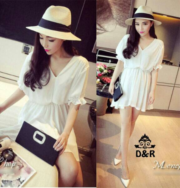 Baju Mini Dress Simple White Cantik Model Terbaru & Murah