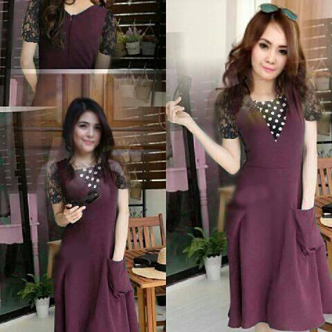 Baju Mini Dress Ungu Wanita Cantik Model Terbaru & Murah