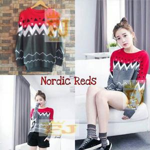 """Baju Sweater Rajut Wanita Keren """"Nordic Reds"""" Terbaru & Murah"""