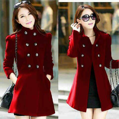 Jaket Coat Wanita Merah Model Terbaru & Murah | RYN Fashion