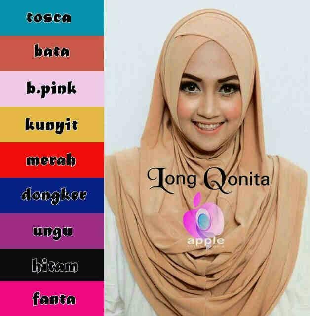 """Jilbab Instan Cantik """"Long Qonita"""" Model Terbaru & Murah"""