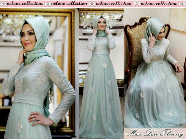 "Pakaian Long Dress Muslim Hijab Cantik ""Maxi Flower"" Model Terbaru & Murah"
