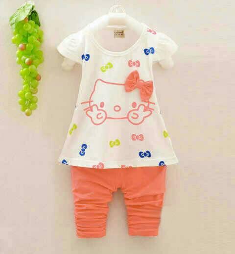 Setelan Baju Celana Hello Kitty Lucu Anak Perempuan