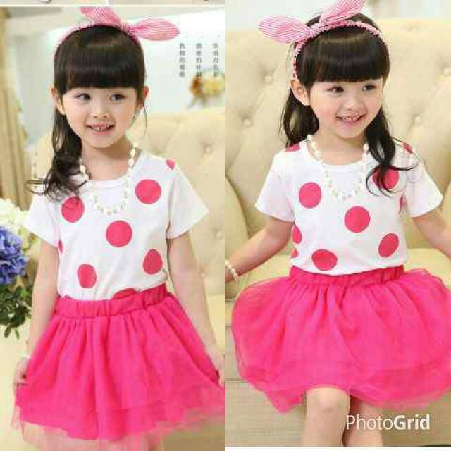 Setelan Baju Dress Polkadot Pink Anak Perempuan Model Terbaru & Murah