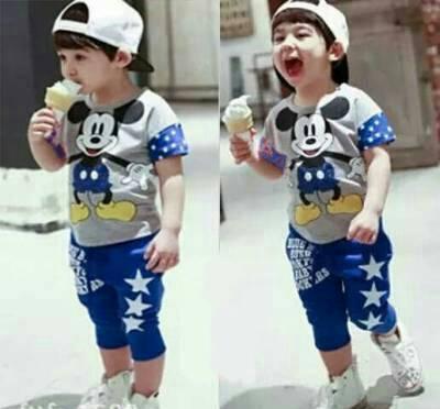 Setelan Baju Kaos Anak Laki Laki Mickey Mouse Model: baju gamis anak laki murah