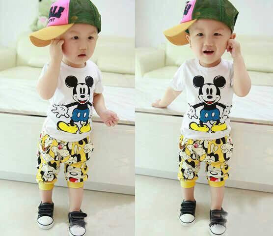 Setelan Baju Kaos & Celana Anak Laki-laki Gambar Mickey Mouse Terbaru & Murah