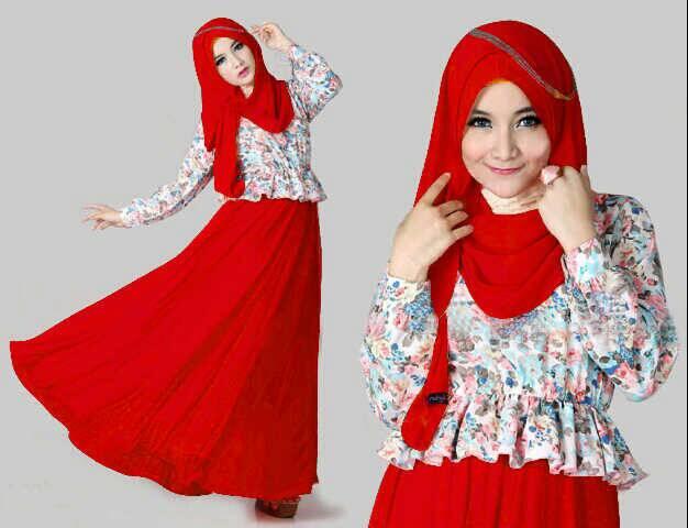 Setelan Baju Long Dress Muslim Hijab Cantik Maxi Kenyo
