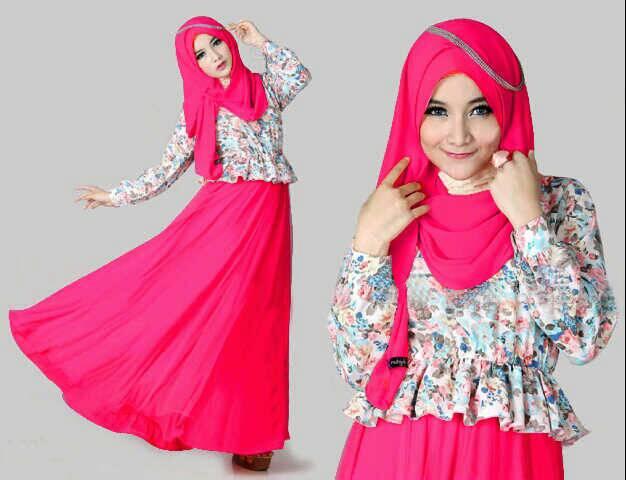 """Setelan Baju Long Dress Muslim Hijab Cantik """"Maxi Kenyo"""" Model Terbaru & Murah"""