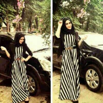Setelan Baju Long Dress Muslim Hijab Salur Model Terbaru & Murah