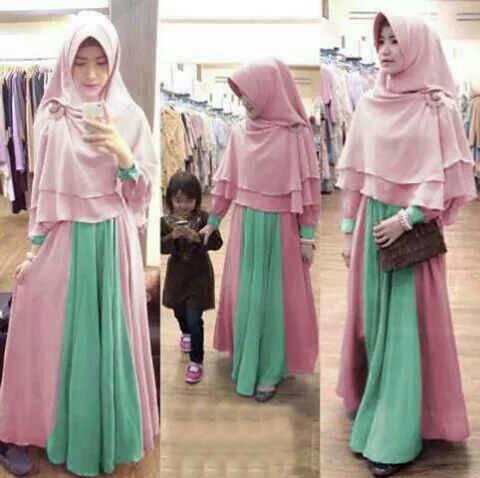 Setelan Baju Muslim Gamis Syari Himawa Modern Cantik Model Terbaru & Murah