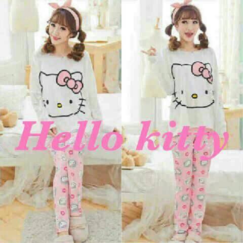 Setelan Baju Tidur Wanita Lucu & Murah Gambar Hello Kitty Model Terbaru